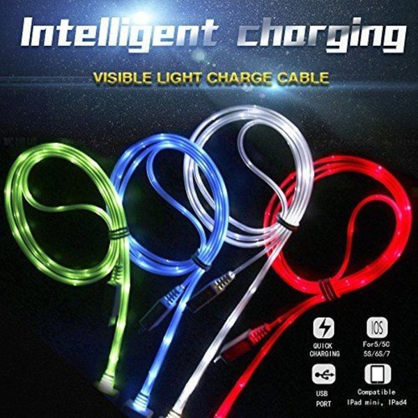 Glow in the dark light up led micro u b type c data  ync charger cable charging cord for  am ung lg android phone