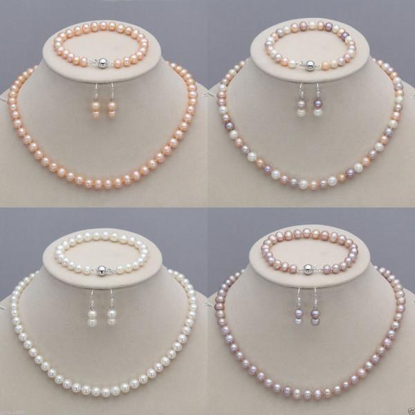 8-9мм натуральный Akoya культивированный жемчуг ожерелье + браслет + серьги комплект фото