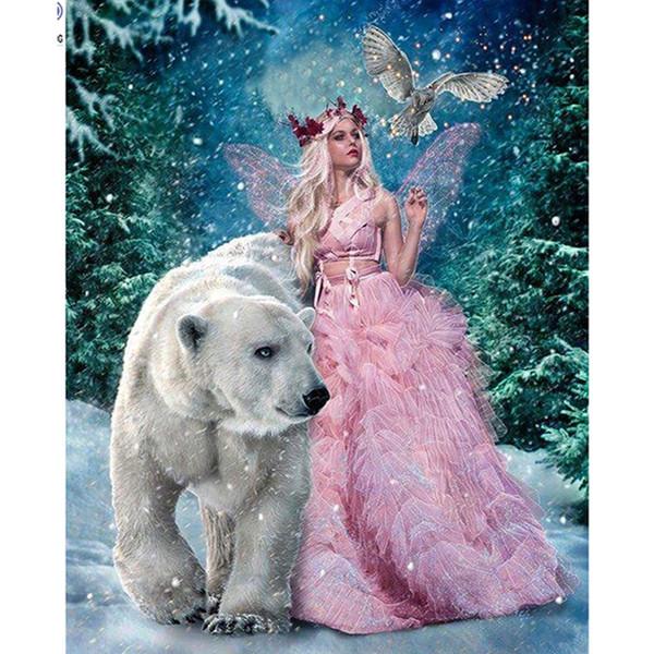 Фея и Медведь DIY Алмаз живопись 5D алмазная мозаика вышивки крестом вышивка рукоде