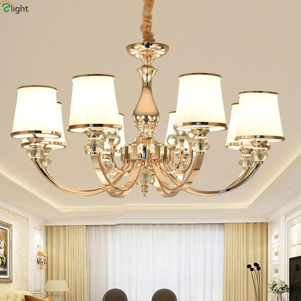 Modern lu tre cry tal living room led chandelier gold chrome metal dining room led pendant chandelier lighting hanging light