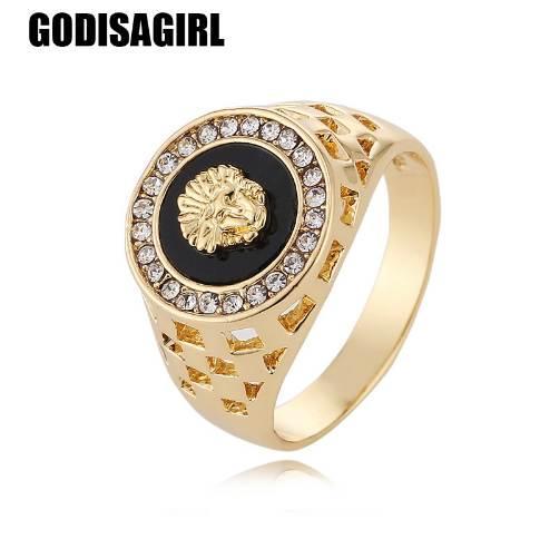 Новая мода золото и серебро цвета классический мужской панк стиль хип-хоп кольцо Львиная голова мужчины Мужчина палец кольца для мужчин женщин Size7-12