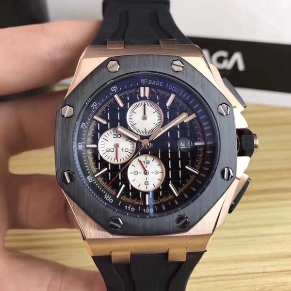 Aaa elling luxury watch pecial men aaa black dial rubber band gold tainle teel automatic mechanical 15710 t men men watch watche
