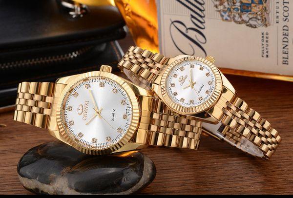 2018 Top quality Man women gold watch Stainless steel luxury Casual wristwatch Famous brand quartz watch male clock Fashion sports New watch