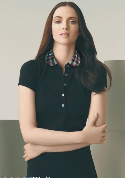 Мода женщины плед футболки 100% хлопок вышивка лето с коротким рукавом черный и кра фото