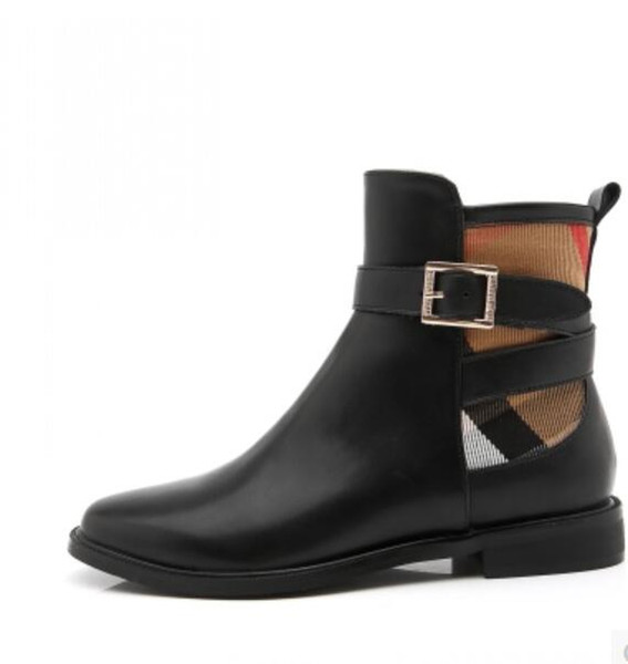 Women winter boot genuine leather fa hion brand cla ic luxury briti h belt buckle ladie plicing martin boot