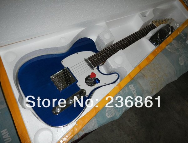 Whole ale price teleca ter tandard blue electric guitar with hard ca e