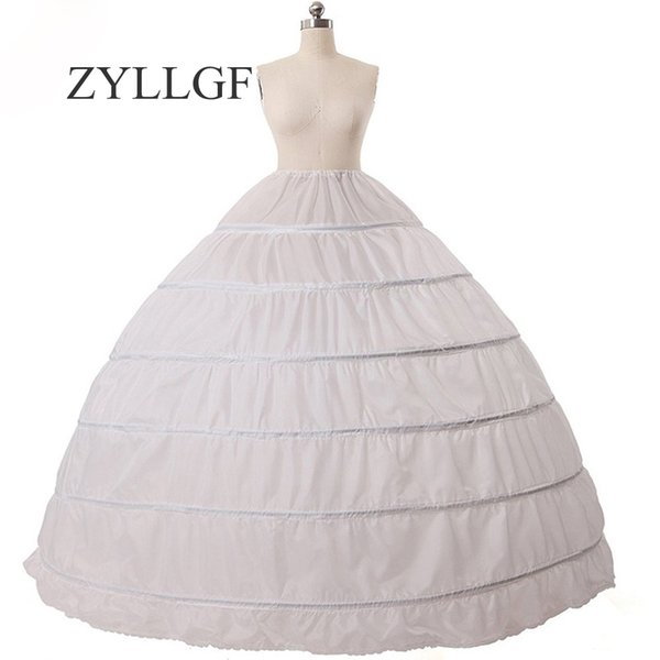 ZYLLGF Cheap Ball Gown 6 Hoops Petticoat Wedding Slip Crinoline Bridal Underskirt Slip 6 Hoop Skirt Crinoline For Quinceanera Dress