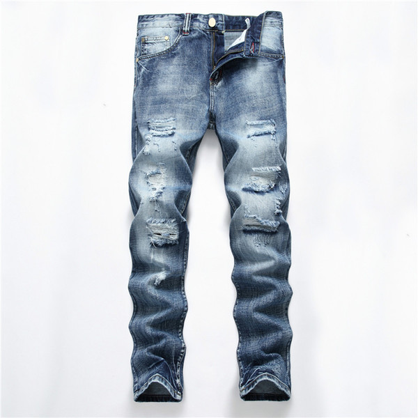 Men Distressed Ripped Skinny Jeans Slim Fit Motorcycle Moto Biker Jeans Elastic Denim Hip hop Punk For Men