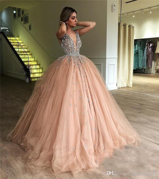 Luxury Crystals Ball Gown Prom Dresses 2018 Illusion V Neck Champagne Tulle Plus Size Sequined Sweet 16 Arabic Dubai Quinceanera Party Gowns
