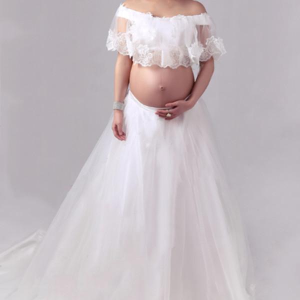 Материнства Платье Кружева Белый Материнства Фотография Опора Моды Фотосессия О
