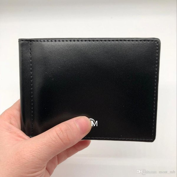 classic casual men's leather luxury wallet m b card holder double discount black short credit card holder purse mb pocket mt high quali (413099169) photo