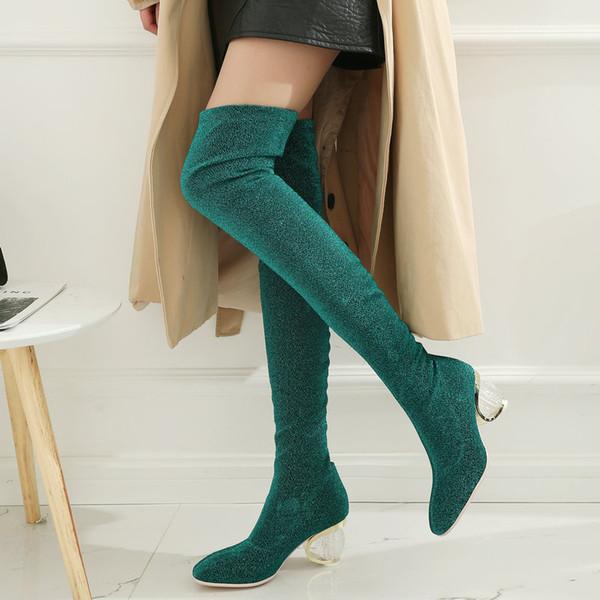 2018 Мода над коленом сапоги женщины странный стиль стрейч бедра сапоги скольжения
