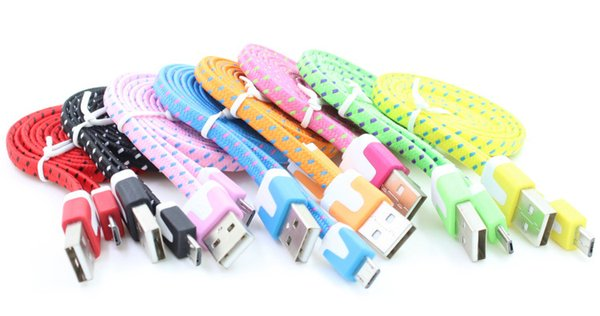 10 color  fabric nylon braided flat noodle micro u b cable for  am ung galaxy  6  7 edge  4  3 for blackberry htc