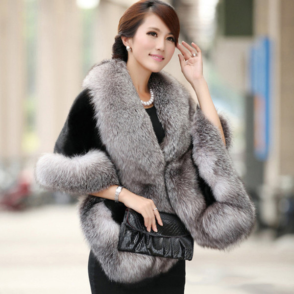 Elegant Womens Faux Mink Cashmere Winter Warm Fur Coat Shawl Cape Fashion Solid Ladies Faux Fur Poncho AQ704471 фото