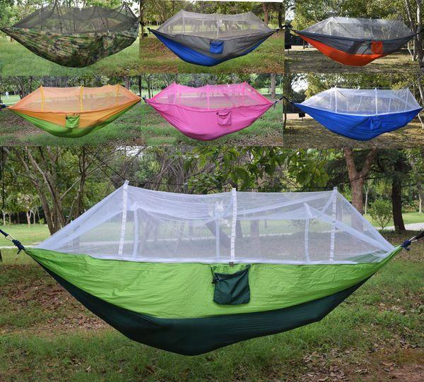 Portable hammock with mo quito net ingle per on hammock hanging bed foldable travel hammock 260x140cm