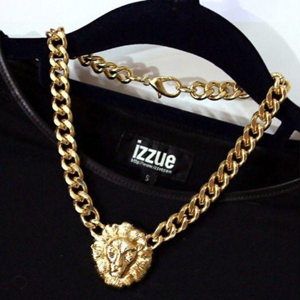 whole saleFashion Woman Necklace Gold Lion Head Pendant Necklace Big Statement Bib Choker Bijoux Femme Fine Jewelry
