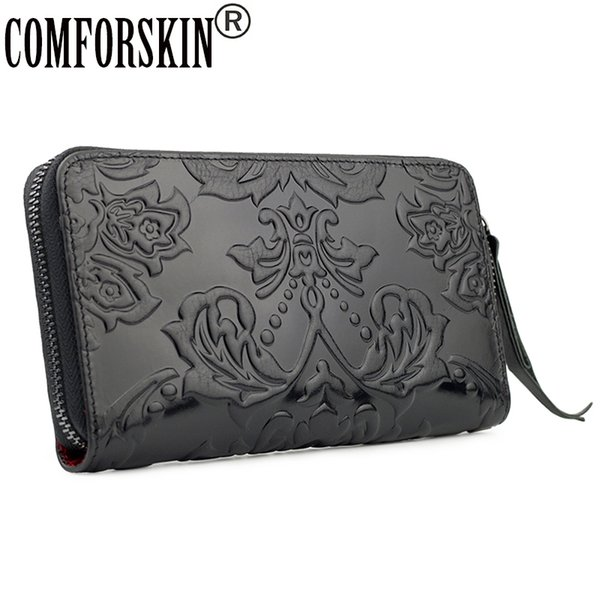 comforskin cowhide leather unique embossing flower long nationtal women organizer wallets new arrivals ladies clutches purses (427964805) photo