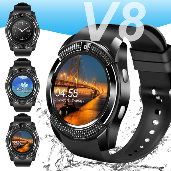 For apple  mart watch  martwatch v8 bluetooth phone wri t watche  with camera touch creen  im card  lot camera for iphone android men women