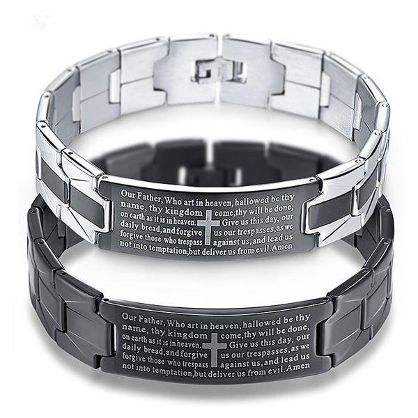 Black Cross Bracelet Stainless Steel Men Jewelry Pulseiras Heavy Metal Vintage English Bible Bracelets Bangles Mens Jewellery