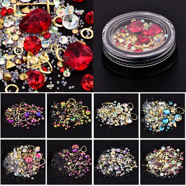 Nail art decoration charm gem bead rhine tone hollow hell flake flatback rivet mixed hiny glitter 3d diy acce orie