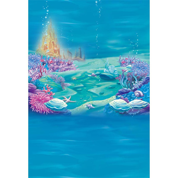 Under the Sea Photography Background Blue Seaweed Starfish Bubbles Gold Castle Baby Little Mermaid Birthday Party Photo Booth Backdrop