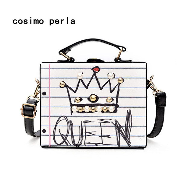 love letter print luxury party purses fashion handmade diamond pearl rivet box shaped tote handbag lady crossbody bag sac clutch (414961290) photo