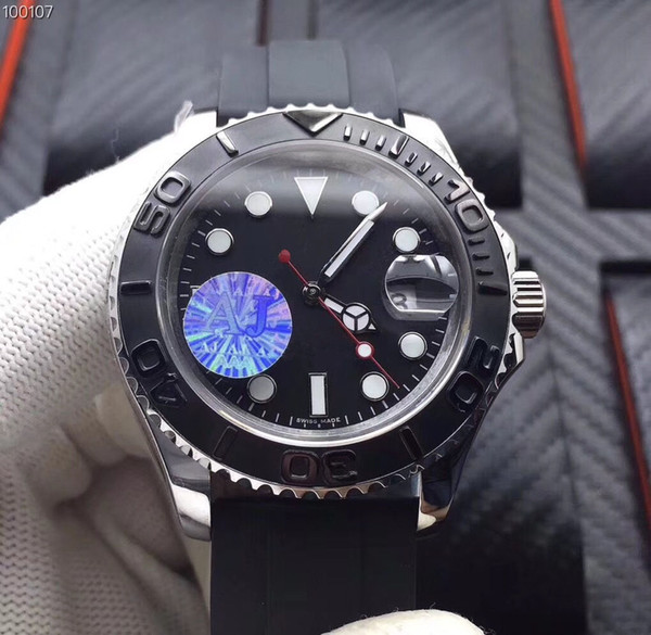 Whole ale luxury brand ym men watch cla ic black 40mm dial rubber trap aj factory 2836 automatic movement watche