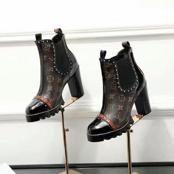 18ss 2019 Роскошные дизайнерские женские сапоги Med каблуки Осень Зима обувь женщина г фото
