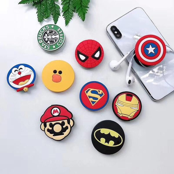 Silicone cartoon holder   uper hero expanding holder  tand grip clip ring for  martphone air bag cell phone bracket with package