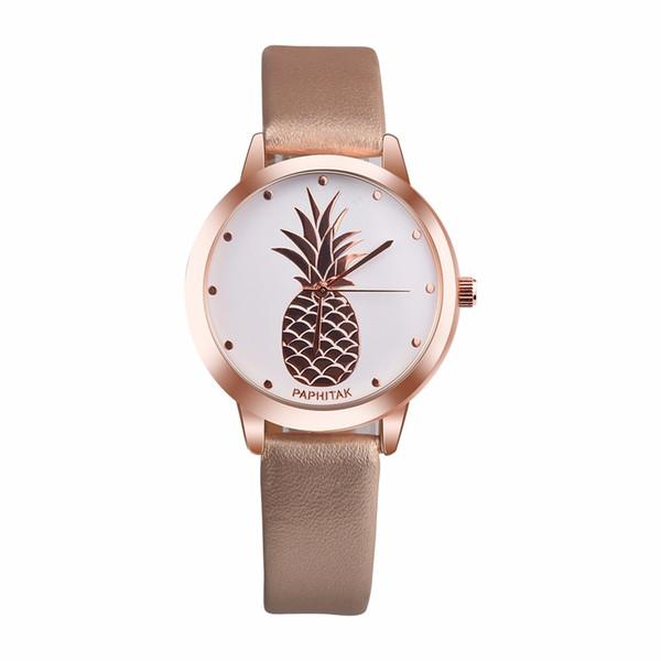 Мода браслеты 2018 женщин ананас шаблон искусственной кожи Кварцевые наручные часы для женщин браслеты ювелирные изделия груза падения