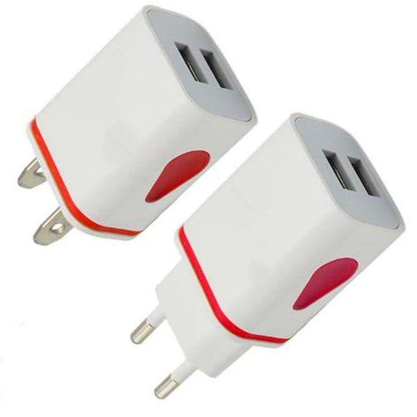 Fa t charging water drop light up led dual u b port  home adapter ac u  eu plug wall charger for  martphone
