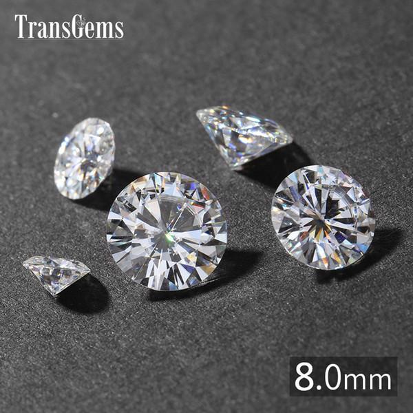 TransGems 2ct карат 8 мм GH бесцветный круглый бриллиант вырезать лаборатории выросли Mois фото
