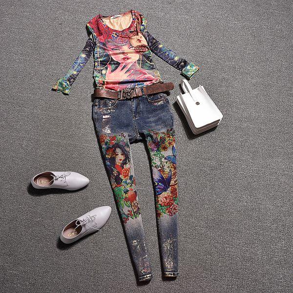 Европейская станция осень повседневная девушка печати цветочные футболки топ костюм мода повседневная джинсы брюки из двух частей костюм