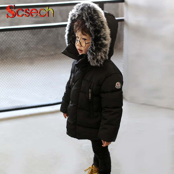 Новая мода детские мальчики куртки меховой воротник Осень Зима куртка дети теплы