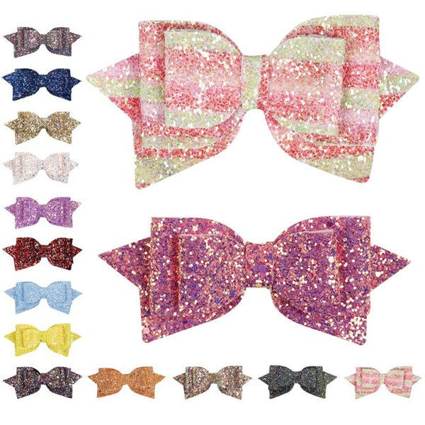 3.14 Inches Sequin Hair Bows Barrettes Girls Hairpins Hairgrip Child Accessories