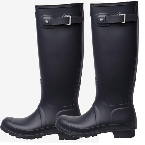 Колено Высокие Сапоги Дождя Rainboots Водонепроницаемые Сапоги Обувь Резиновые Матовый Блеск Rainboots Rainshoes Fit Длинные Носки Для Мужчин Женщин