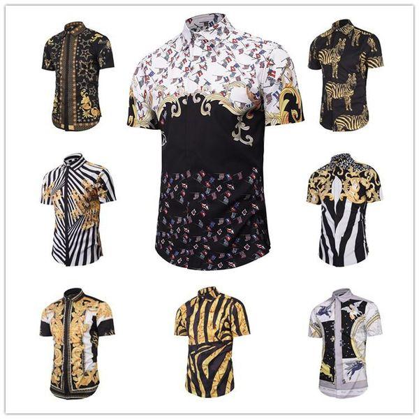 2017 новая мода волна мужчины цветочный принт цвет смесь роскошные Harajuku рубашки с к