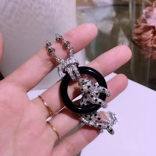 Высокое качество новый CZ алмаз леопард черный смола обруч подвески ожерелья диза