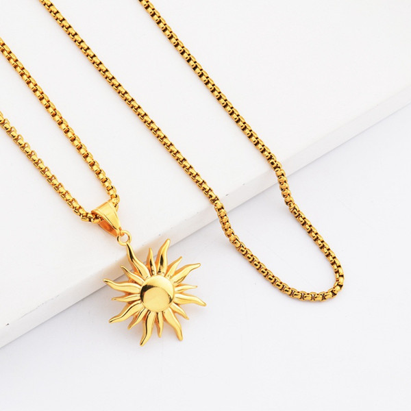 Fashion Hip Hop Jewelry Sun Pendant Necklaces Men 18k Gold Plated 70cm Long Chain Stainless Steel Design