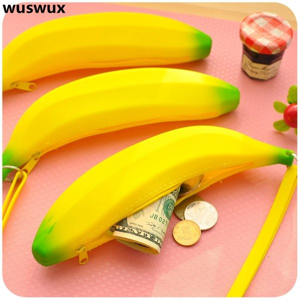 new fashion silicone purse banana pencil case cute kawaii bag children wallet coin purse canvas change for girls baby (416924659) photo