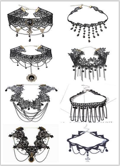 Минималистский готический колье ожерелья многослойные татуировки кружева колье фото