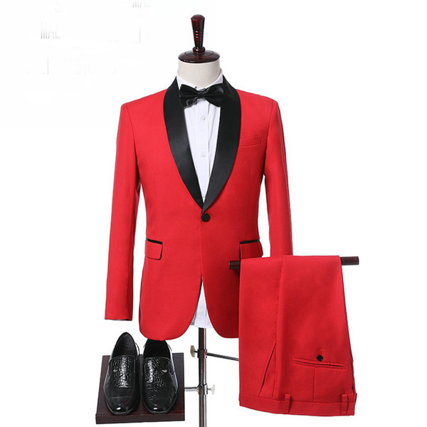 ( Jacket + Pants ) 2018 Red Formal Party Men Suits 2018 Black Shawl Lapel Two Piece Custom Made Groom Tuxedos for Wedding