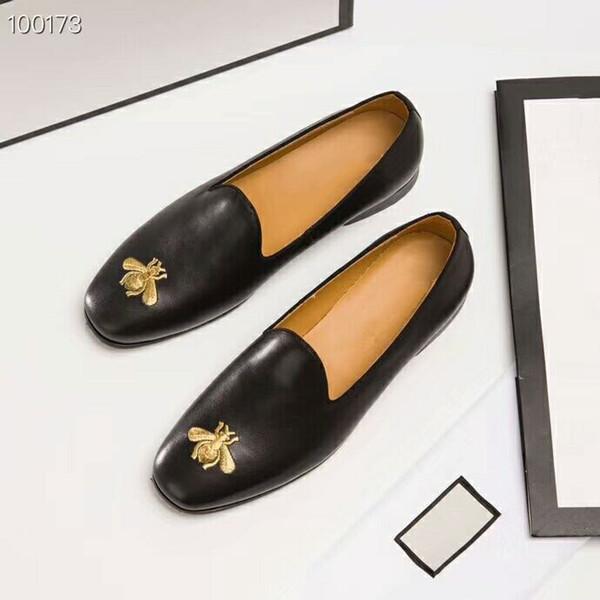 Роскошные бренды оригинальное издание пользовательские высокое качество натуральная кожа удобные здоровые Bee pattern обувь мужская кожаная обувь