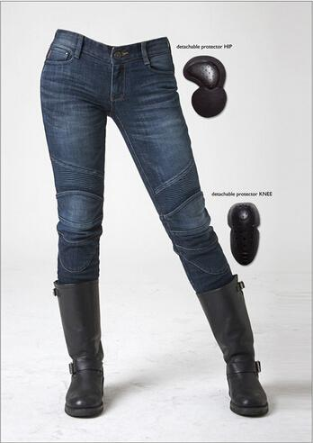 Hot sales New uglyBROS Featherbed women jeans Riding a motorcycle jeans trousers women pants motor pants protection