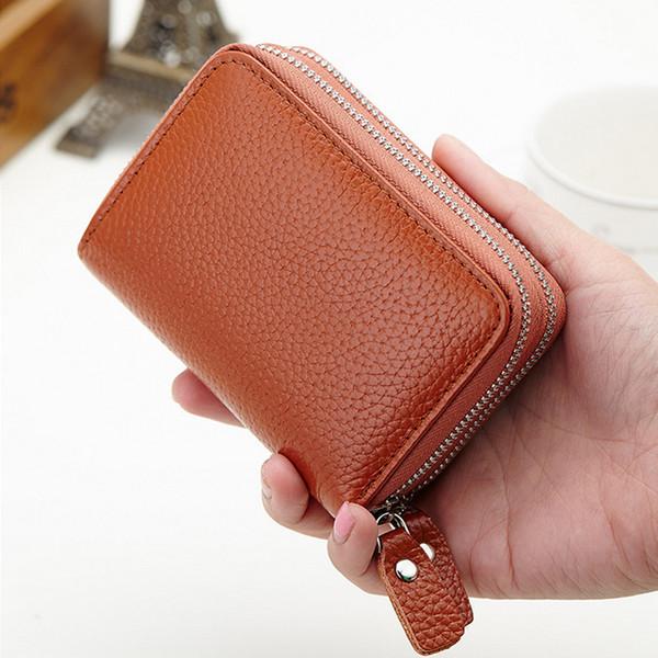 Leather women 039 double zip pur e zero wallet co metic bag