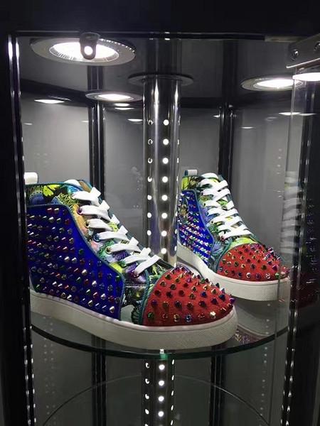 Имя Марка Дизайнерские Шипы мужские кроссовки с красной подошвой для женской обу