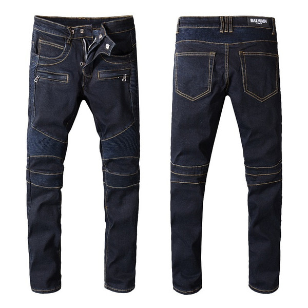 Balmain Jeans Top Quality Fashion Mens Simple Summer Casual Lightweight Jeans Men's Casual Solid Classic Straight Denim Stylist For Sale