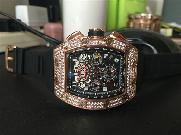 Men 039 port watch brand quality luxury watche mechanical automatic wri twatch black rubber trap diamond bezel 018