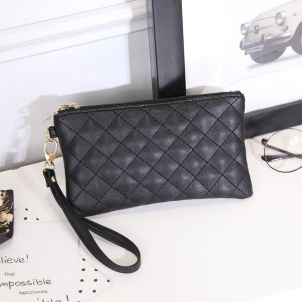 women wallets pu leather bag diamond laice female zipper clutch coin purse ladies wristlet portable black handbag for parties (416796792) photo