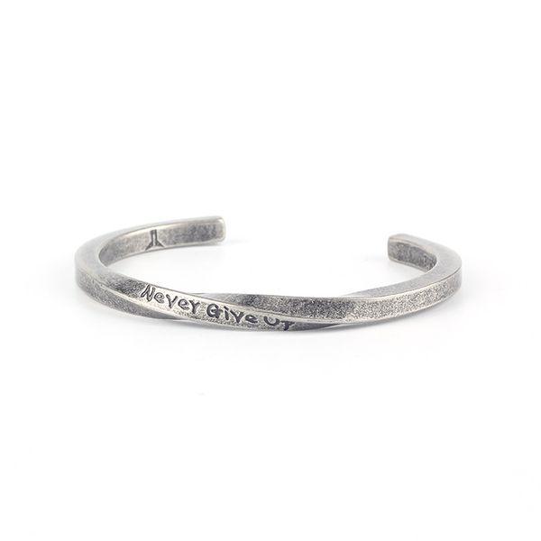 Titanium Steel Letter Spiral Open Bangle Stackable Браслеты Подарки для мужчин Женщины Ювелирные издели